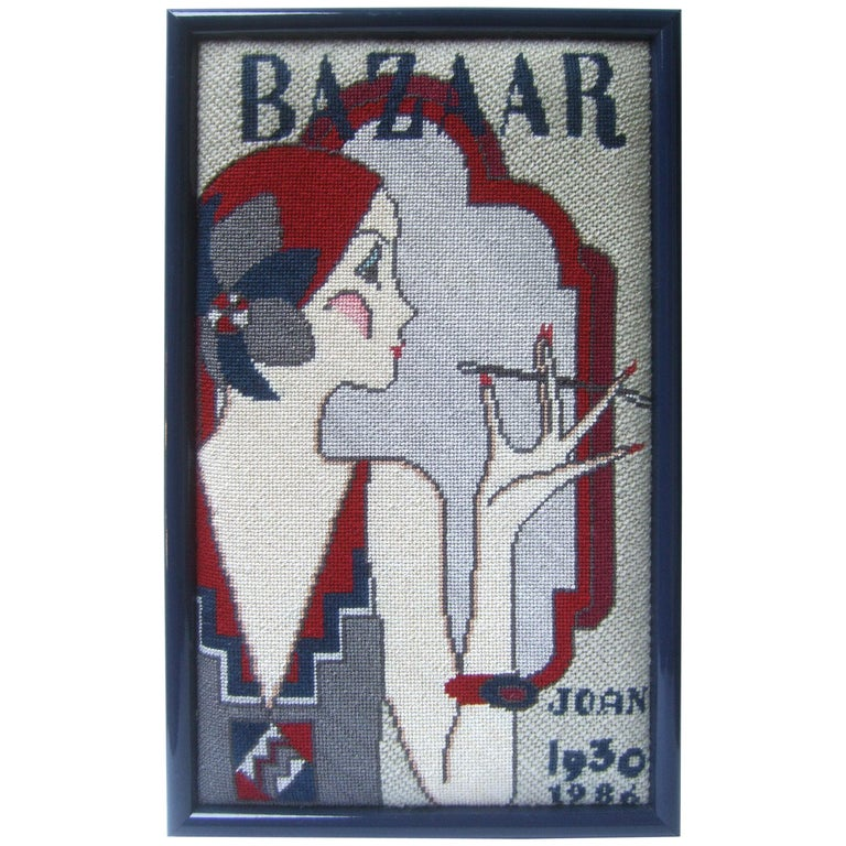 1970s Art Deco Inspired Framed Needlepoint Wall Hanging  For Sale