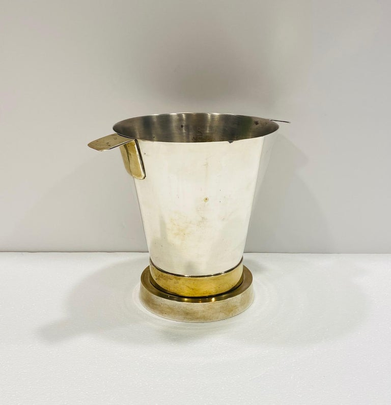 1970's Art Deco Style Wine Cooler and Ice Bucket with Brass Accents, Italy In Good Condition For Sale In Fort Lauderdale, FL