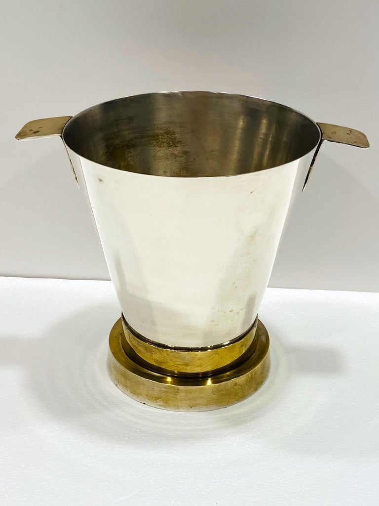 Late 20th Century 1970's Art Deco Style Wine Cooler and Ice Bucket with Brass Accents, Italy For Sale