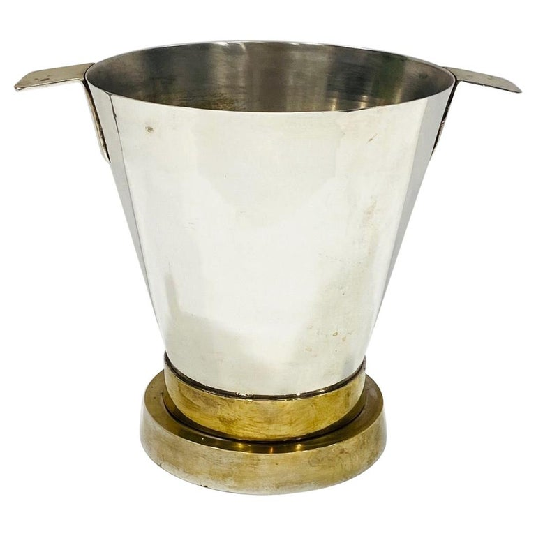 1970's Art Deco Style Wine Cooler and Ice Bucket with Brass Accents, Italy For Sale