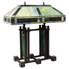 1970s Art Deco Tiffany Glass Bronze Table Lamp