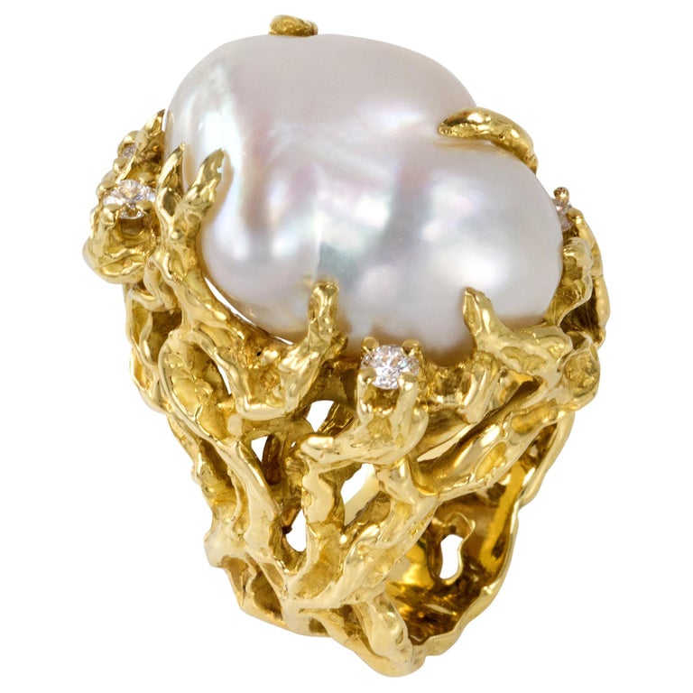 1970s Arthur King Baroque South Sea Pearl, Diamond and Gold Ring For Sale
