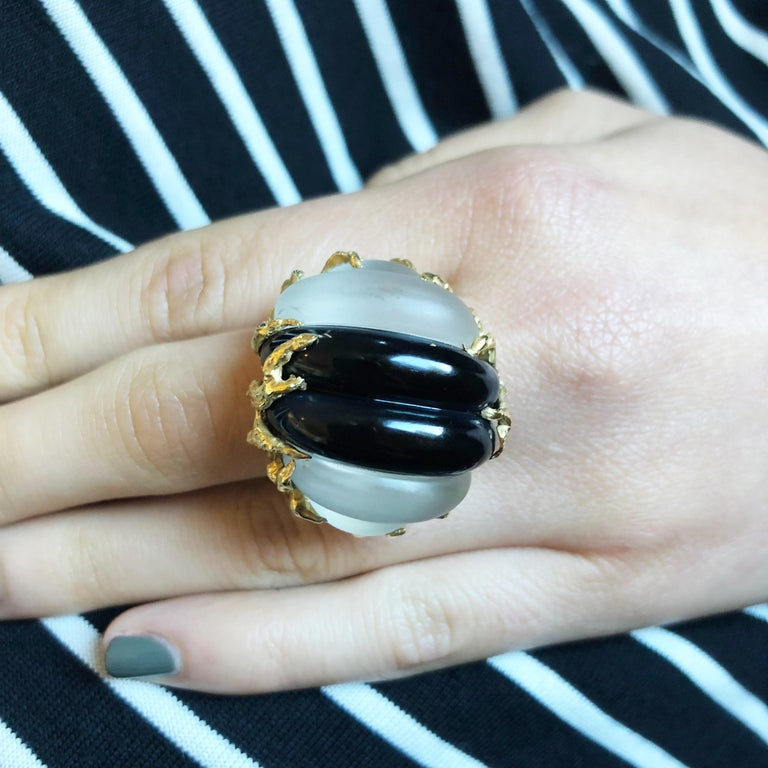 Women's or Men's 1970s Arthur King Carved Rock Crystal, Onyx, and Textured Gold Ring For Sale
