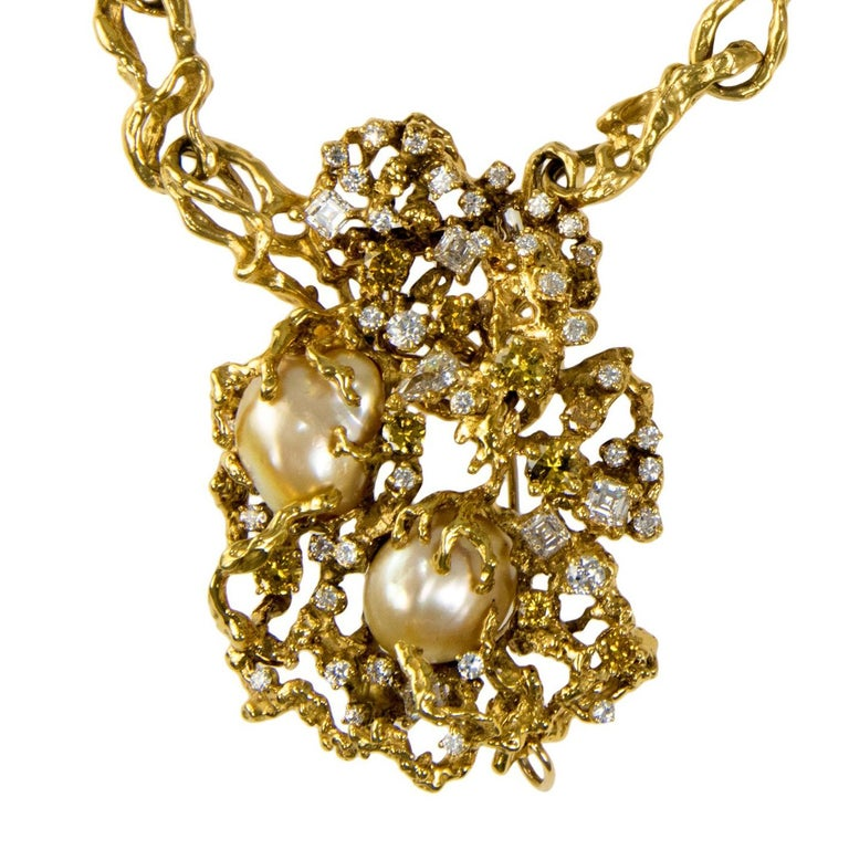 1970s Arthur King South Sea Baroque Pearl, Diamond and Gold Brooch For Sale