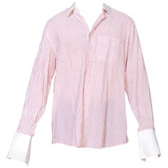 1970'S ARTIOLI Red & White Cotton Bespoke Men's  Shirt With French Cuffs