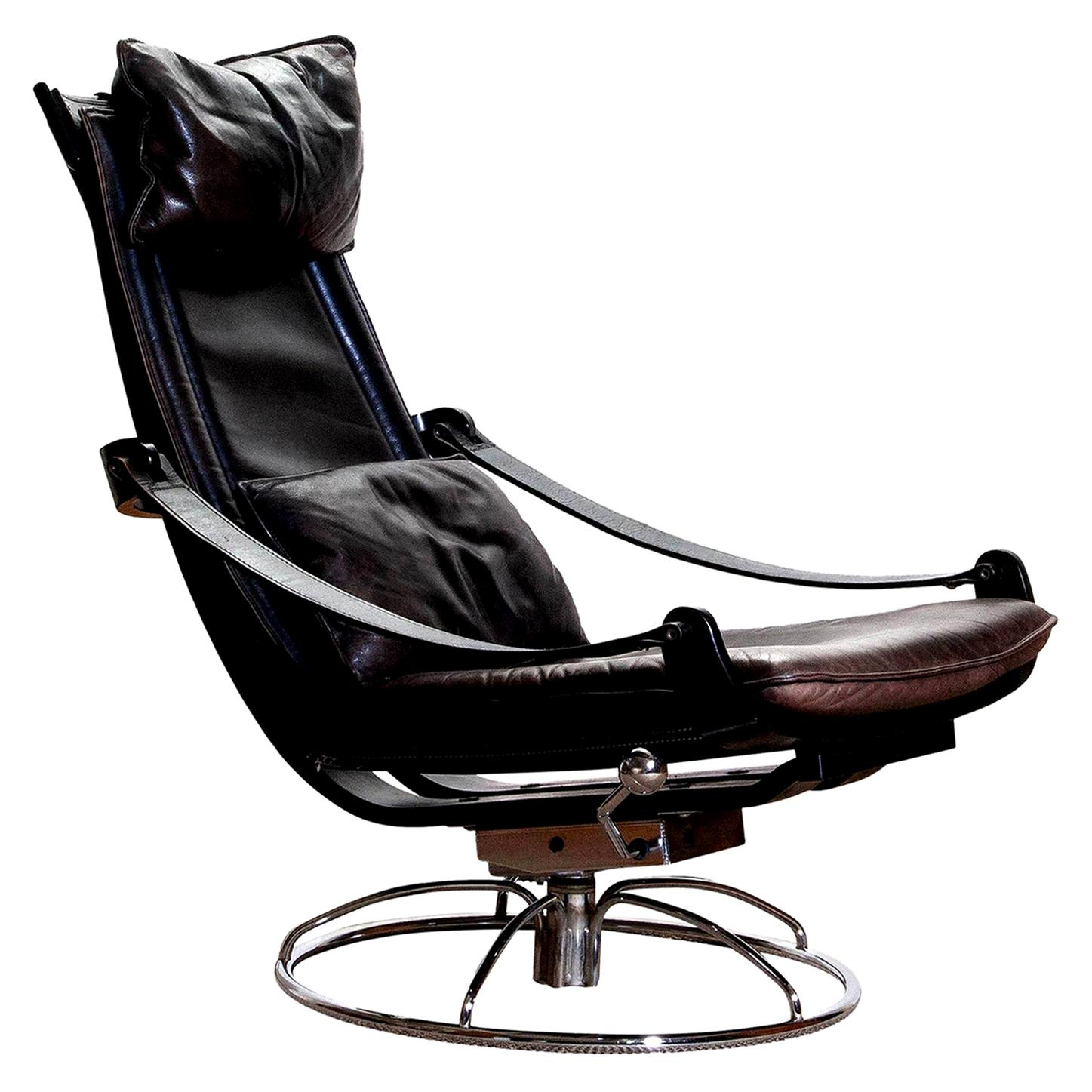 1970s Artistic Leather Swivel or Relax Chair by Ake Fribytter for Nelo, Sweden