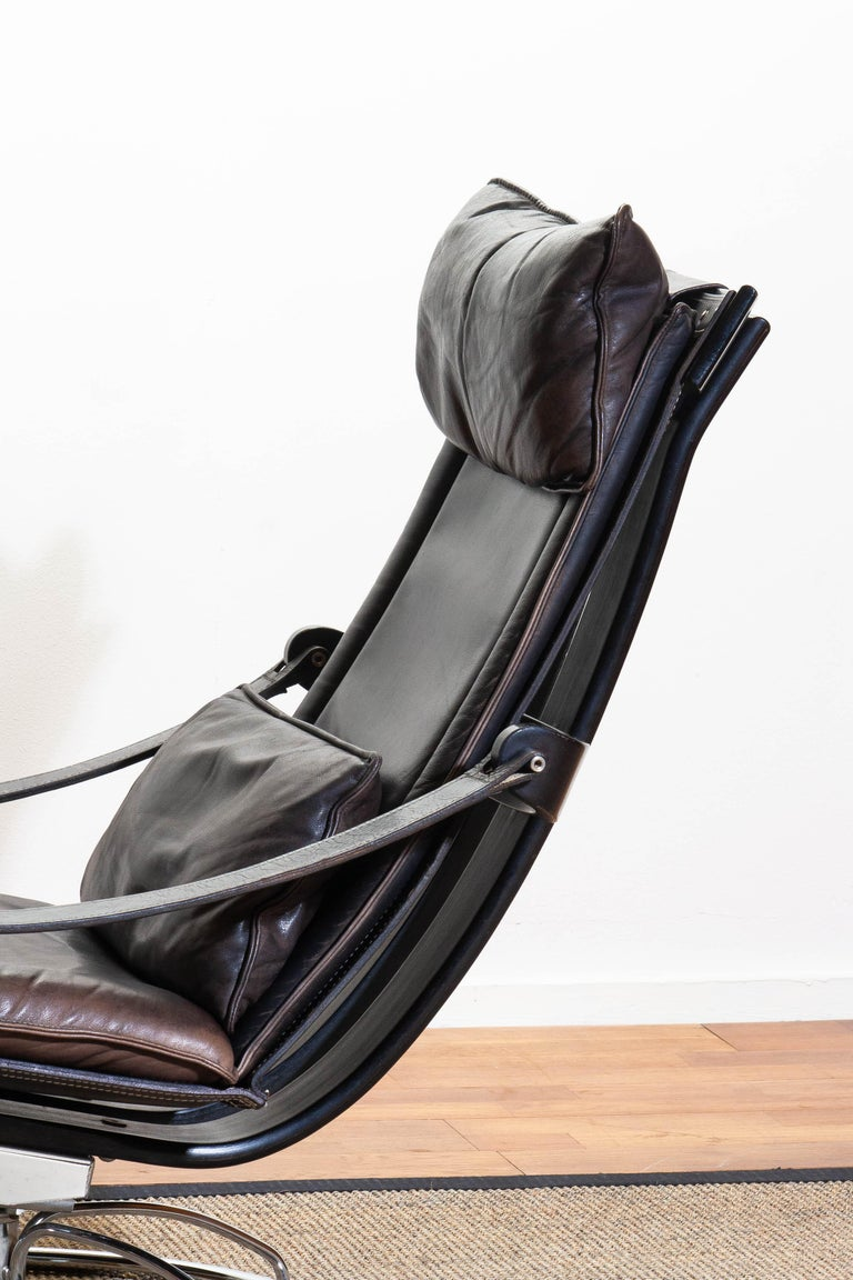1970s Artistic Leather Swivel / Relax Chair by Ake Fribytter for Nelo Sweden 5