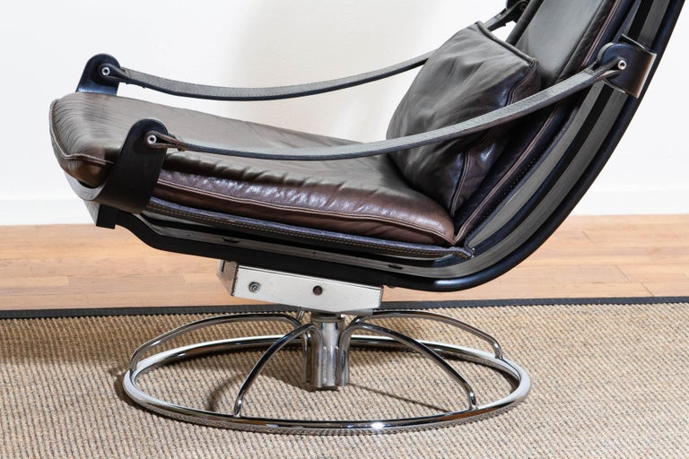 1970s Artistic Leather Swivel / Relax Chair by Ake Fribytter for Nelo Sweden 6