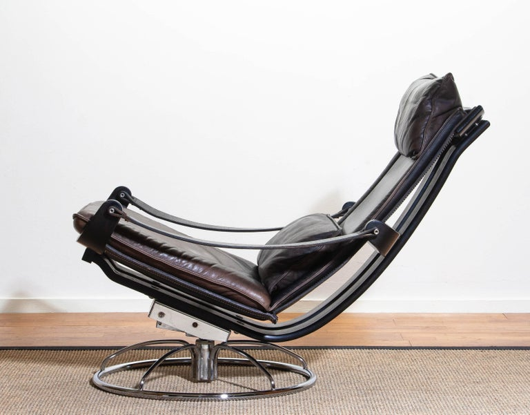 1970s Artistic Leather Swivel / Relax Chair by Ake Fribytter for Nelo Sweden 7