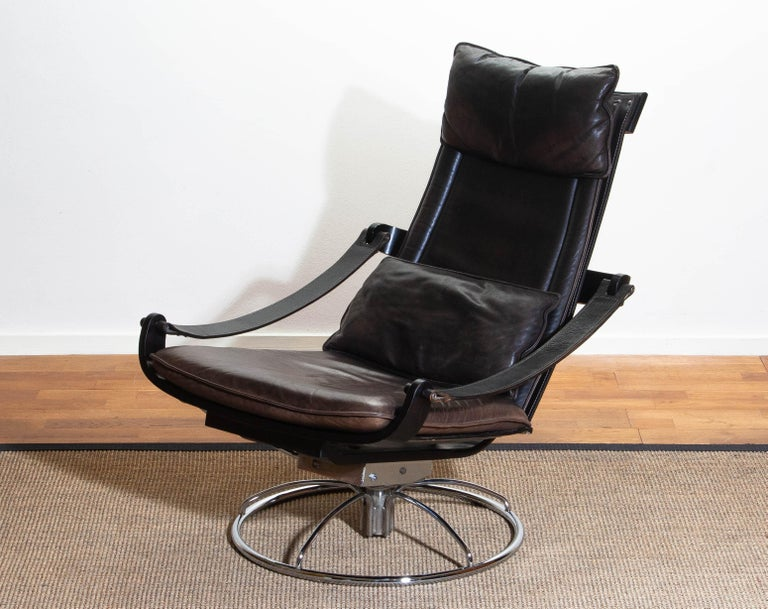 1970s Artistic Leather Swivel / Relax Chair by Ake Fribytter for Nelo Sweden 8