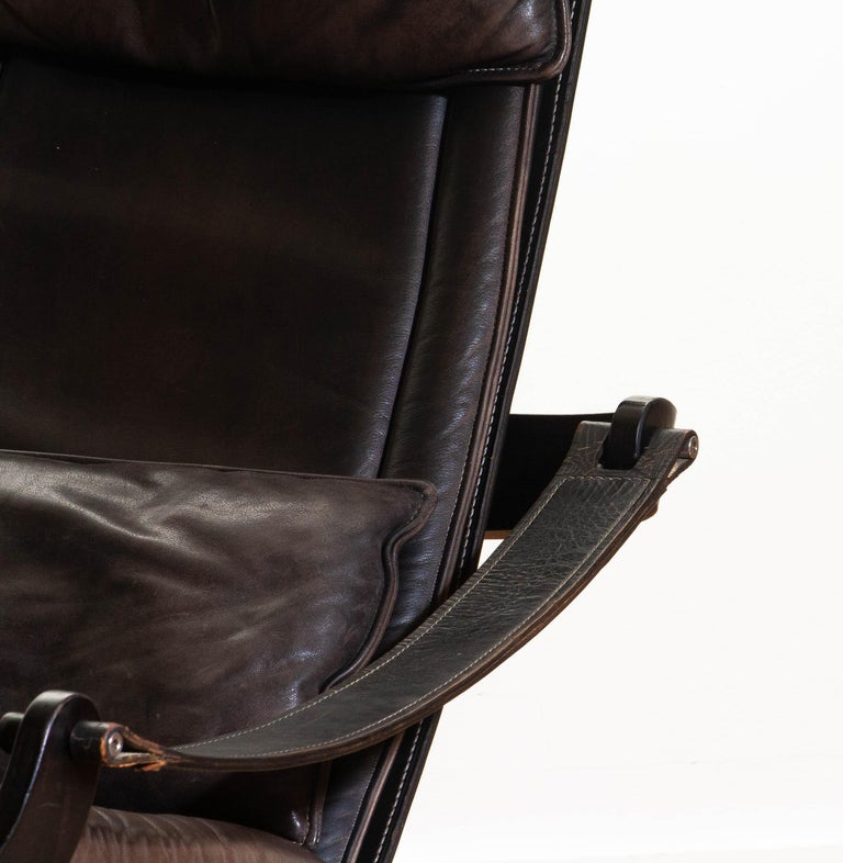 1970s Artistic Leather Swivel / Relax Chair by Ake Fribytter for Nelo Sweden 9