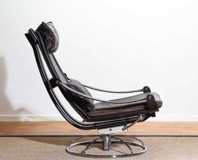 Swedish 1970s Artistic Leather Swivel / Relax Chair by Ake Fribytter for Nelo Sweden