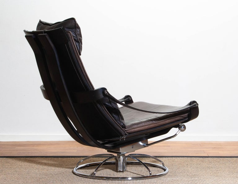 Late 20th Century 1970s Artistic Leather Swivel / Relax Chair by Ake Fribytter for Nelo Sweden
