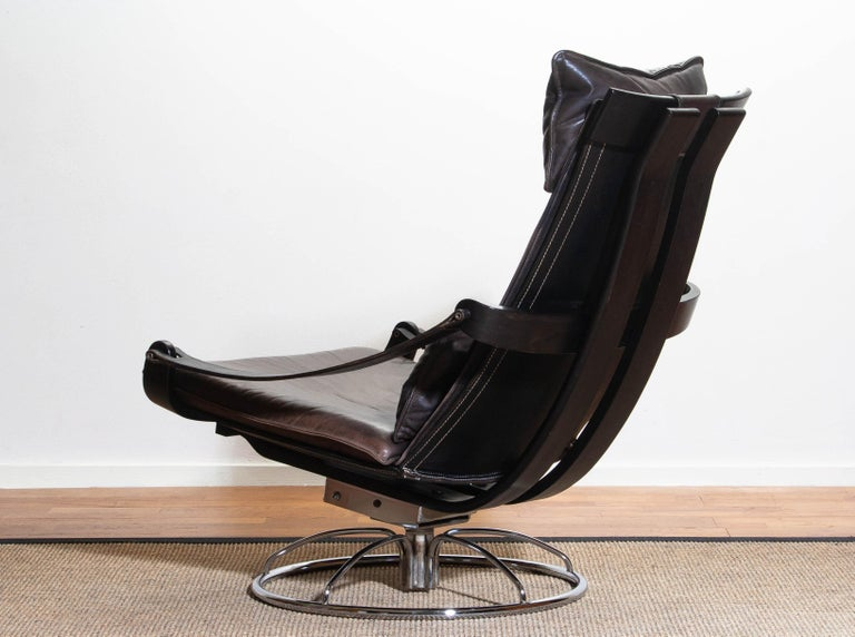 1970s Artistic Leather Swivel / Relax Chair by Ake Fribytter for Nelo Sweden 2