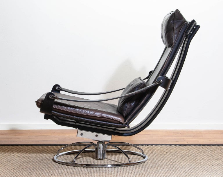 1970s Artistic Leather Swivel / Relax Chair by Ake Fribytter for Nelo Sweden 3