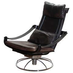 1970s Artistic Leather Swivel / Relax Chair by Ake Fribytter for Nelo, Sweden