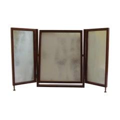 1970s Arts & Crafts Style Bespoke Handmade Freestanding Triptych Mirror Yew Wood