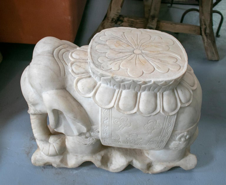 1970s Asian pair of white marble elephants from India.  Dimensions of each.