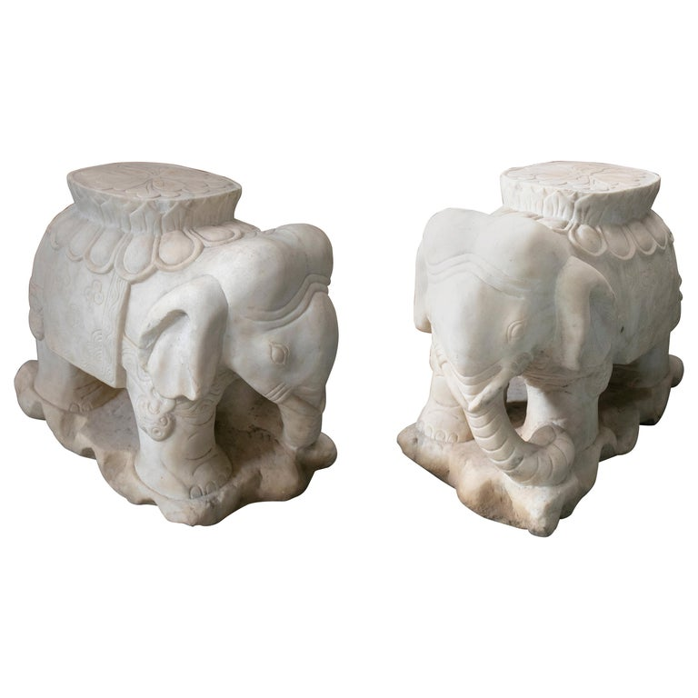 1970s Asian Pair of White Marble Elephants from India For Sale
