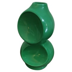 1970s Astonishing Space Age Green Vase by Gabbianelli, Made in Italy