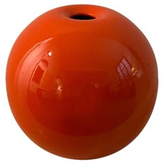 1970s Astonishing Space Age Orange Vase in Ceramic by Gabbianelli, Made in Italy