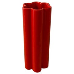 1970s Astonishing Space Age Red Vase in Ceramic by Gabbianelli, Made in Italy