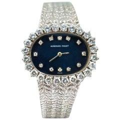 1970s Audemars Piguet 18 Karat Gold Navy Diamond Dial Textured Bracelet Watch