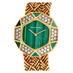 1970s Audemars Piguet Diamond and Malachite 18 Karat Yellow Gold Women's Watch