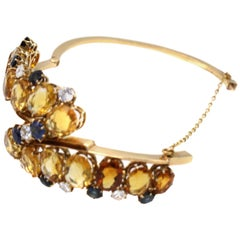 1970s Austrian Diamond Sapphire and Citrine Bangle Bracelet