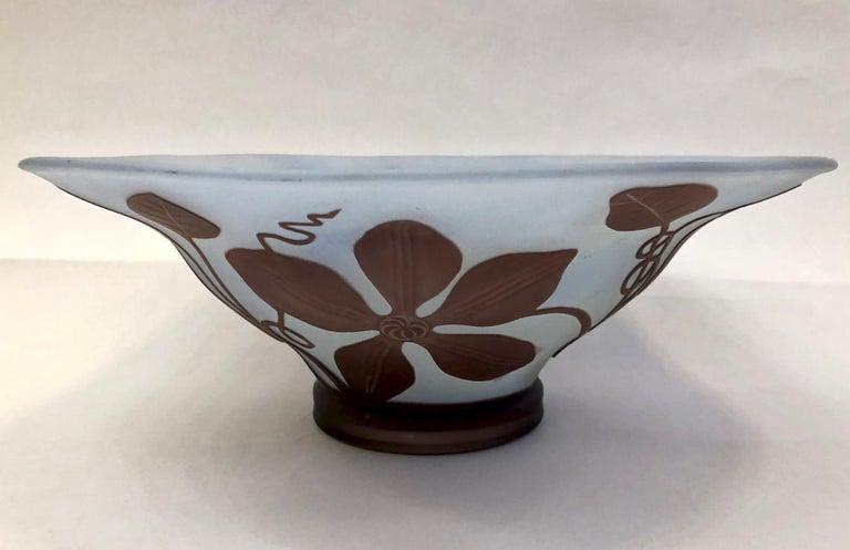 1970s Austrian Vintage Art Nouveau Style Aqua Blue Glass Bowl with Brown Flowers For Sale 5