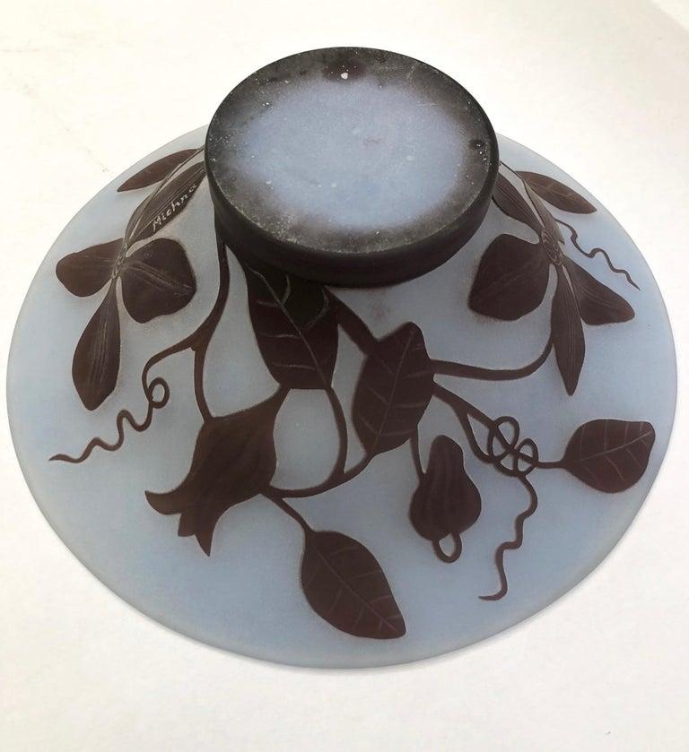Late 20th Century 1970s Austrian Vintage Art Nouveau Style Aqua Blue Glass Bowl with Brown Flowers For Sale
