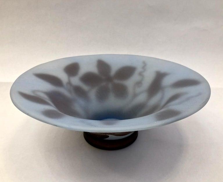 1970s Austrian Vintage Art Nouveau Style Aqua Blue Glass Bowl with Brown Flowers For Sale 2