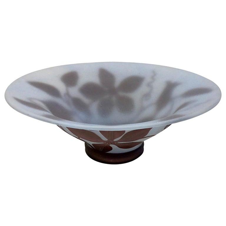 1970s Austrian Vintage Art Nouveau Style Aqua Blue Glass Bowl with Brown Flowers For Sale
