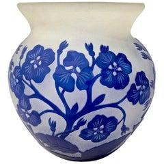 1970s Austrian Vintage Art Nouveau Style Glass Vase with Blue Flowers & Leaves