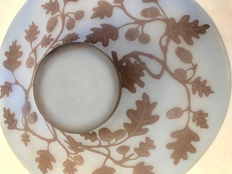Mid-Century Modern 1970s Austrian Vintage Art Nouveau Style Light Blue Glass Bowl with Oak Leaves For Sale