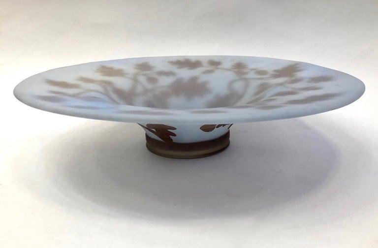 1970s Austrian Vintage Art Nouveau Style Light Blue Glass Bowl with Oak Leaves For Sale 2