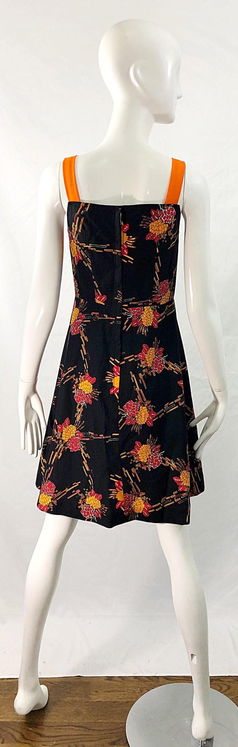 1970s Autumnal Digital Floral Print Knit Vintage 70s A Line Dress + Bolero Top For Sale 5