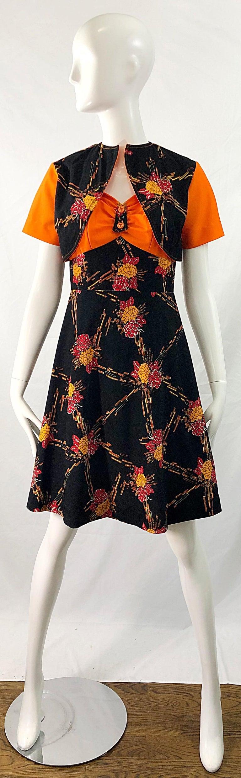 1970s Autumnal Digital Floral Print Knit Vintage 70s A Line Dress + Bolero Top For Sale 13