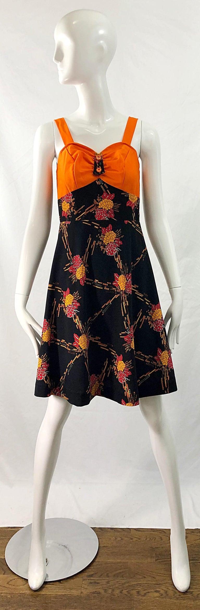 Black 1970s Autumnal Digital Floral Print Knit Vintage 70s A Line Dress + Bolero Top For Sale