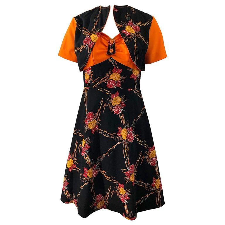 1970s Autumnal Digital Floral Print Knit Vintage 70s A Line Dress + Bolero Top For Sale