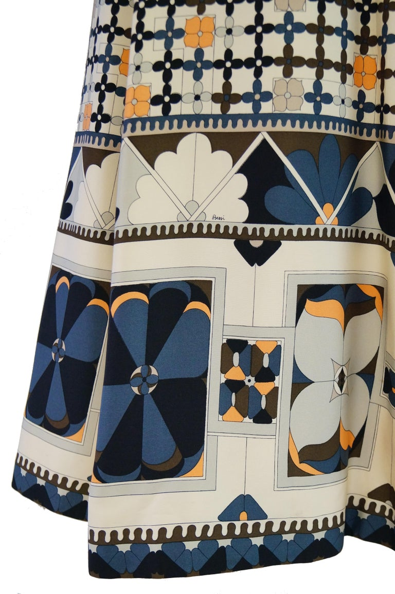 1970's Averardo Bessi Neutral Colored Silk Graphic Maxi Dress For Sale 5