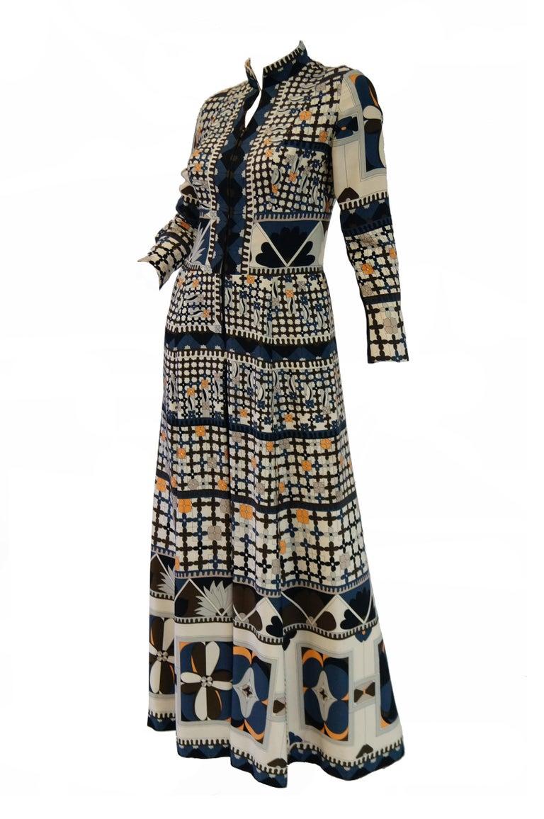 Black 1970's Averardo Bessi Neutral Colored Silk Graphic Maxi Dress For Sale