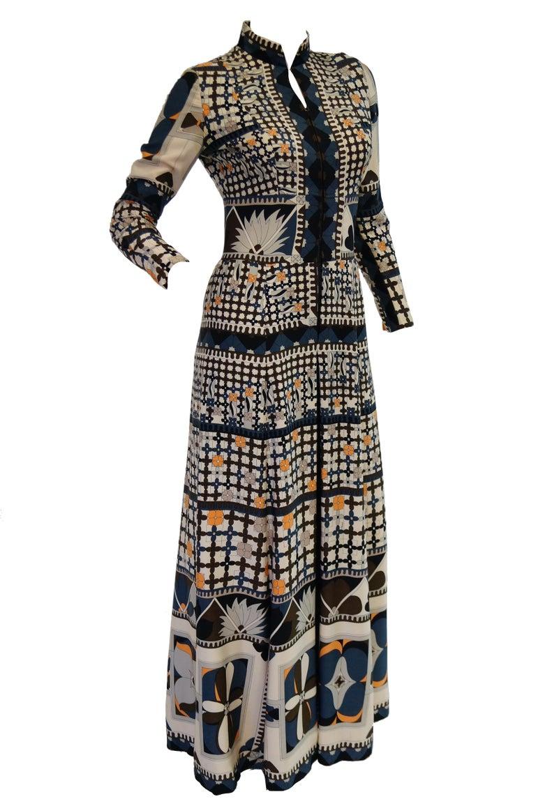 1970's Averardo Bessi Neutral Colored Silk Graphic Maxi Dress In Excellent Condition For Sale In Houston, TX