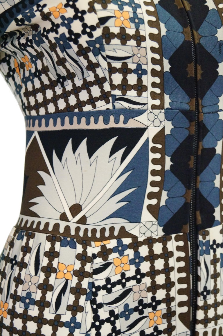 Women's 1970's Averardo Bessi Neutral Colored Silk Graphic Maxi Dress For Sale