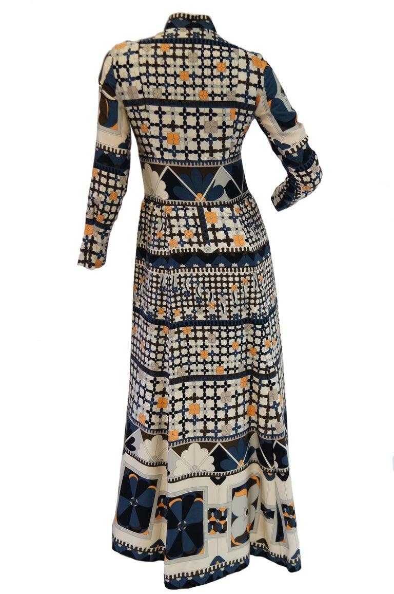 1970's Averardo Bessi Neutral Colored Silk Graphic Maxi Dress For Sale 2