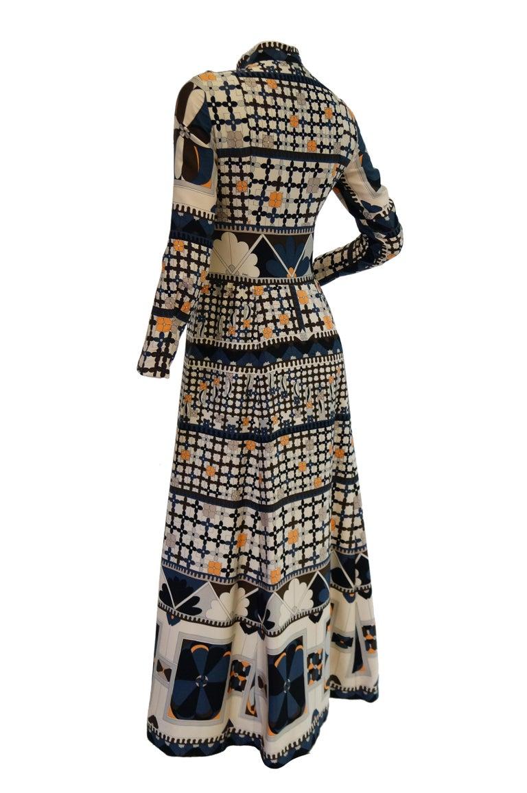 1970's Averardo Bessi Neutral Colored Silk Graphic Maxi Dress For Sale 3