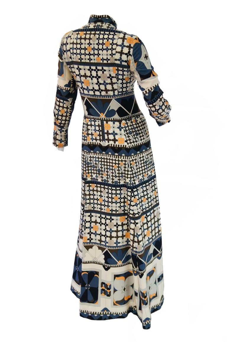 1970's Averardo Bessi Neutral Colored Silk Graphic Maxi Dress For Sale 4