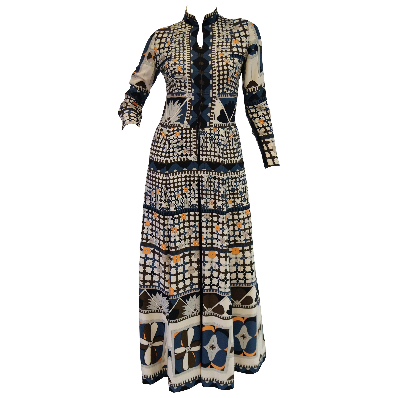 1970's Averardo Bessi Neutral Colored Silk Graphic Maxi Dress