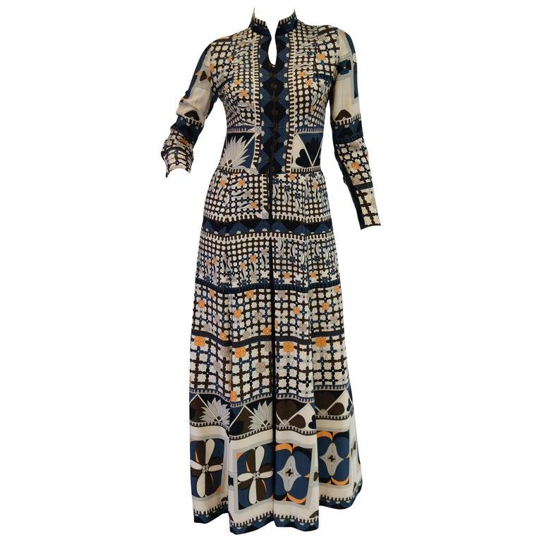 1970's Averardo Bessi Neutral Colored Silk Graphic Maxi Dress For Sale