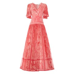 1970's Averardo Bessi Pink Silk Jersey and Chiffon Maxi Dress